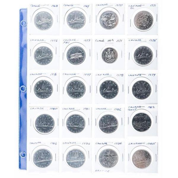 Group of (20) Canada Nickel Dollars 1968 -  1965