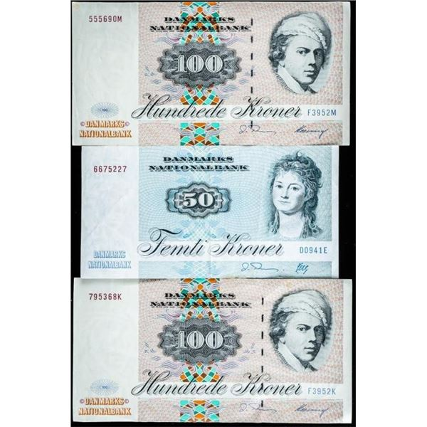 Denmark 1970s Issue 250k Legal Trade Group of  (3) Notes