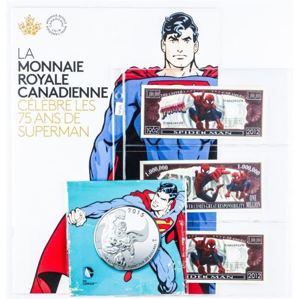 Superman and Spiderman Lot with .999 Fine  Silver Coin.