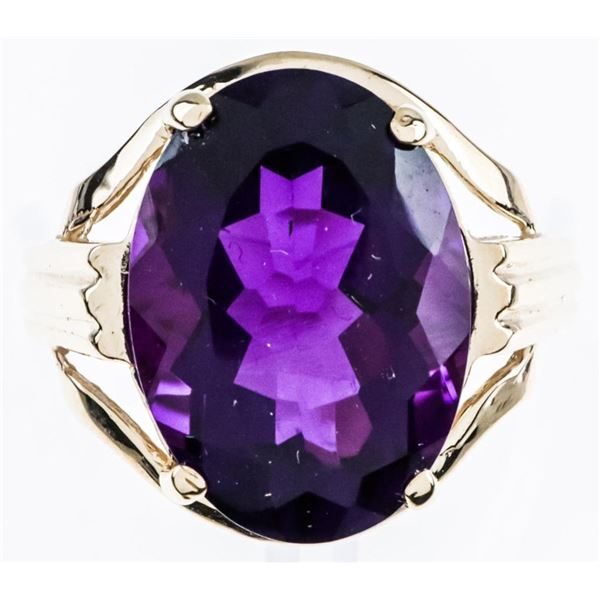 Ladies 10kt Yellow Gold Ring, w/ Oval cut  Natural Amethyst 5.54ct. TRRV $1530.00