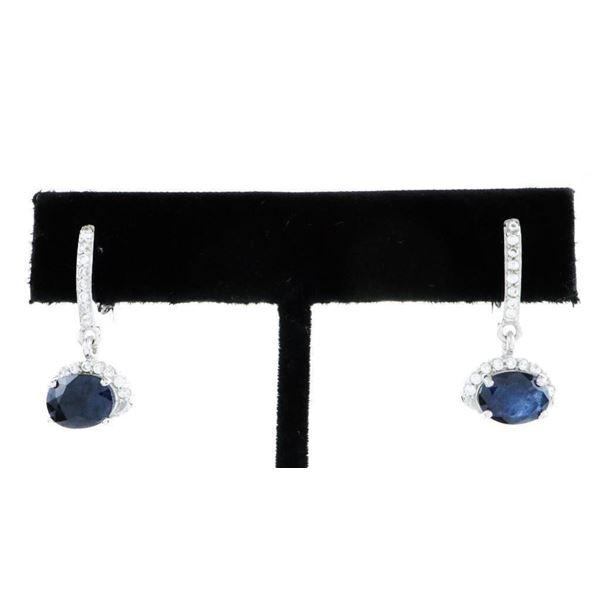 925 Sterling Silver Earrings, 2.74 Ct of  Sapphire Blue Swarovski Elements & CZ's. TRRV  $885.00