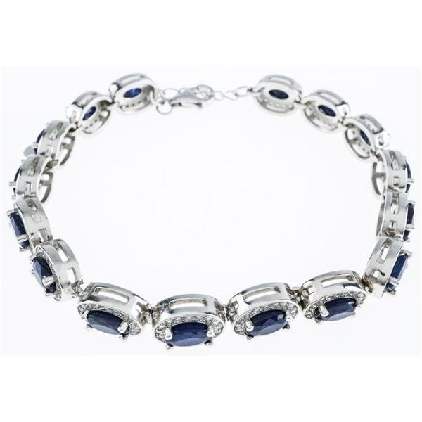 "925 Sterling Silver Bracelet 6.5"" -8"" Long.  16 Natural blue Sapphires -9.28ct. & 250 CZ =  2.56 Cts"