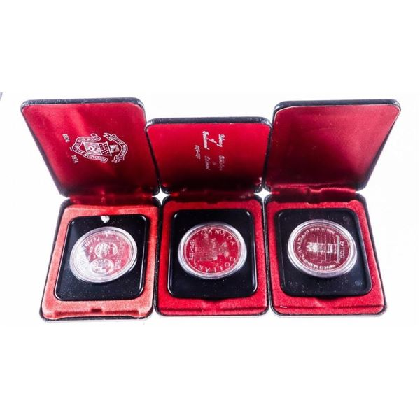 Group of (3) Canada Cased Silver Dollars  -1976,1977,1974