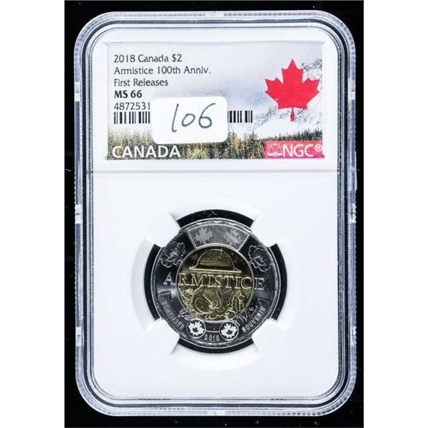 2018 Canada $2 Armistice 100th Anniversary  First release MS66 NGC