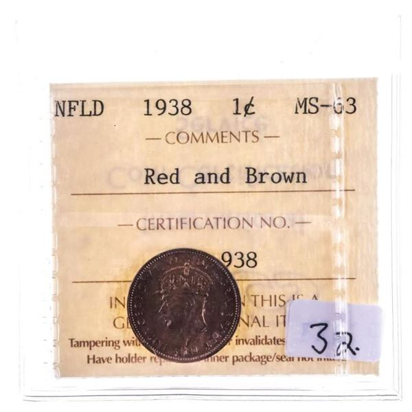 1938 NFLD One Cent MS63 Red & brown ICCS