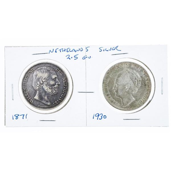 Pair of Netherlands Silver Coins - 1871 &  1930 x 2G