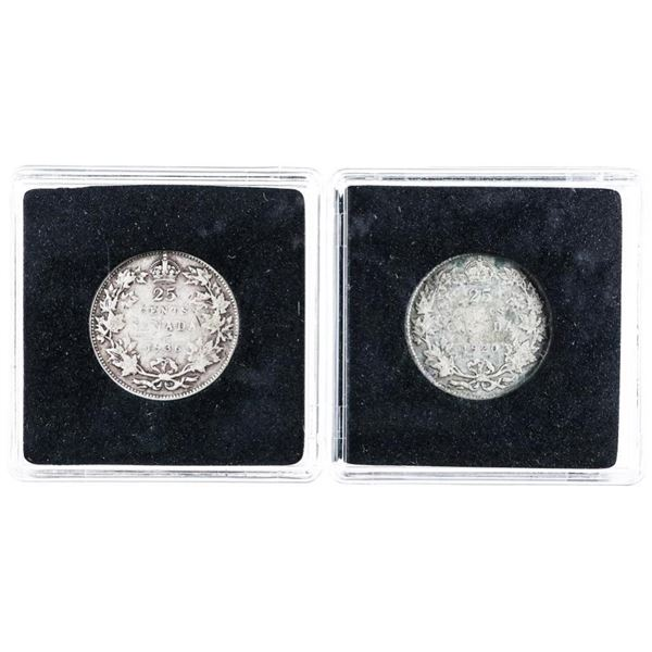 Lot 2 Canada Silver 25 cents 1920 & 1936