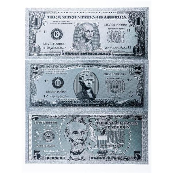 Group of 3 .9999 Fine Silver Leaf USA Collectible  Notes