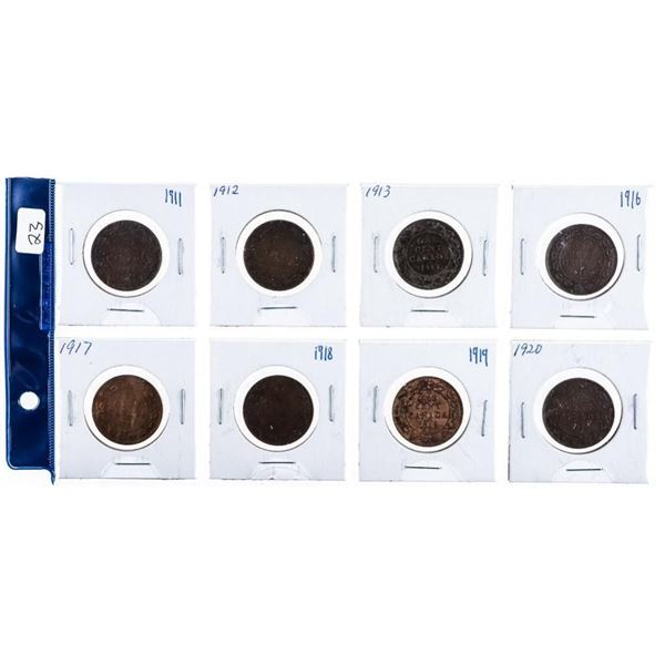 Group of 8 Canada Large Cent Coins 1911-1920 Era