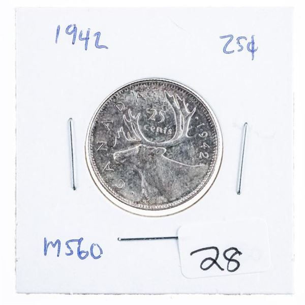 1942 Canada Silver 25 Cents MS60