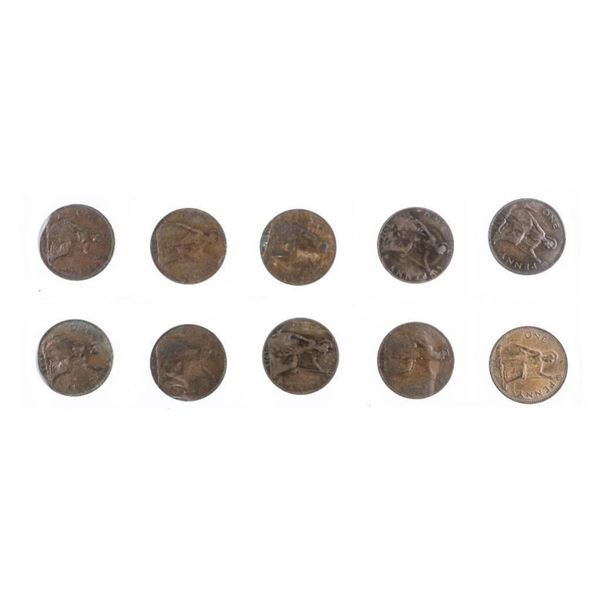 Group (10) Great BRITAIN One Penny Coins