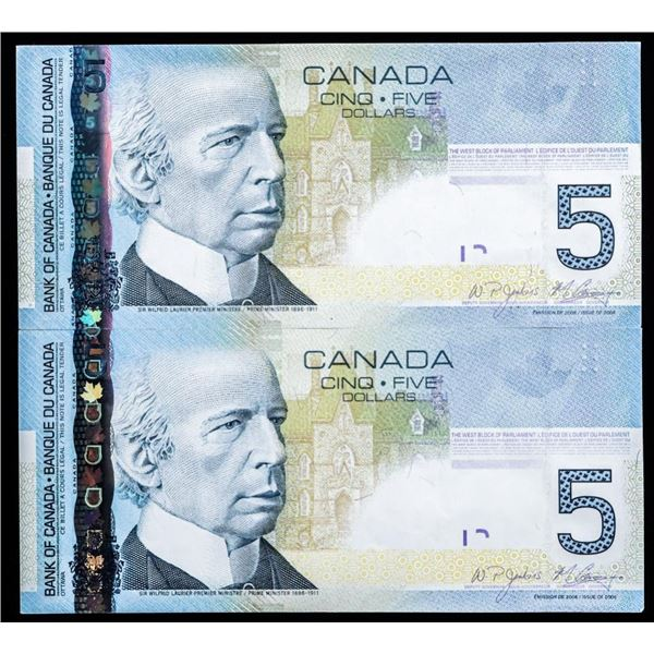 Lot 2 Bank of Canada 2006 $5 - In Sequence