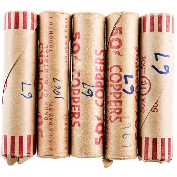 Lot 5 Rolls 1967 Canada One Cent - 250 Coins