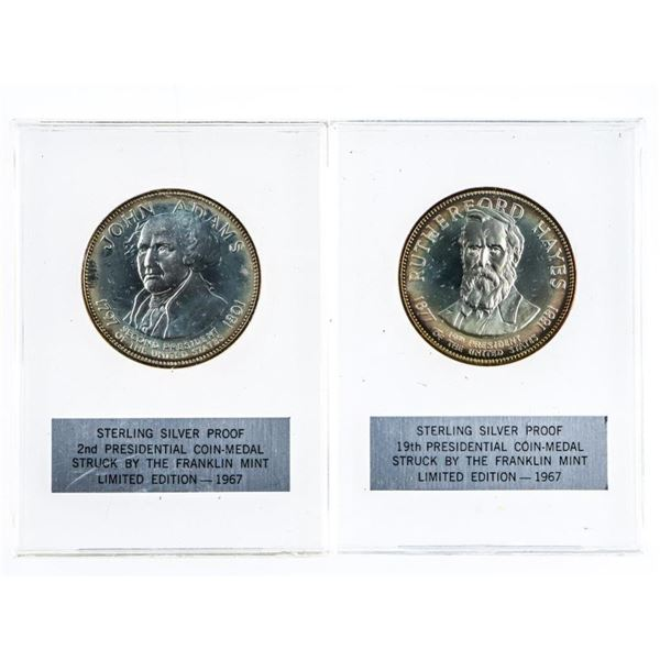 Lot 2 Sterling Silver Proof Presidential  Coin-Medal Struck by The Franklin Mint -Limited  Edition 1