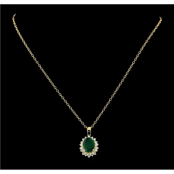 4.38 ctw Emerald and Diamond Pendant With Chain - 14KT Yellow Gold