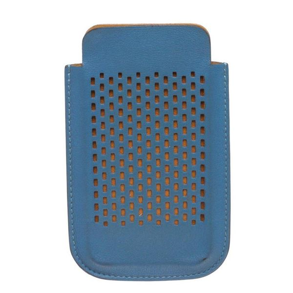 Hermes Blue Perforated Leather iPhone 4 Case
