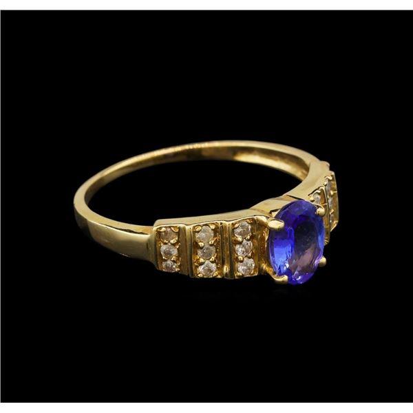 14KT Yellow Gold 0.94 ctw Tanzanite and Diamond Ring