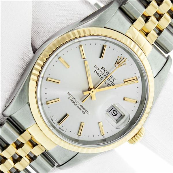 Rolex Mens Datejust 36 Silver Index Yellow Gold Fluted Oyster Perpetual Polished