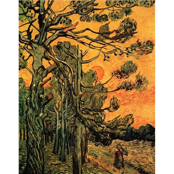 Van Gogh - Pine Trees Against A Red Sky With Setting Sun