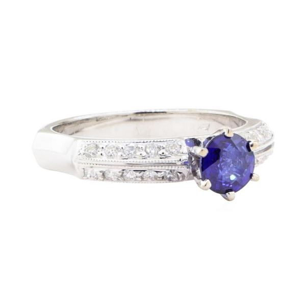 0.95 ctw Sapphire And Diamond Ring - 18KT White Gold