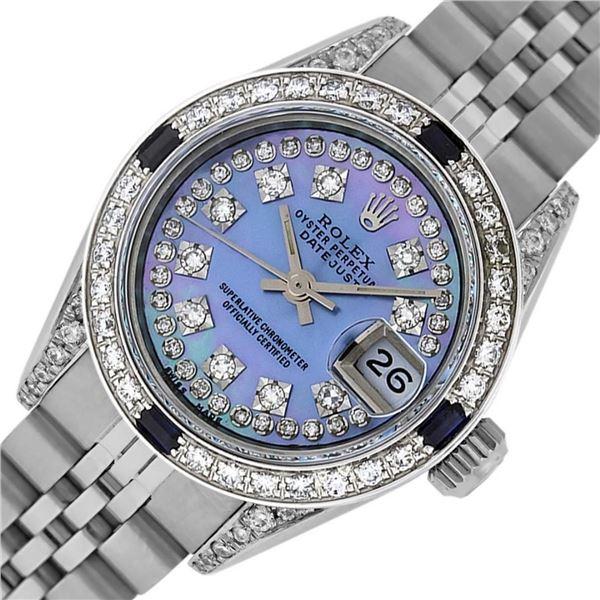 Rolex Ladies Stainless Steel Diamond Lugs Blue MOP String Diamond Datejust Wrist