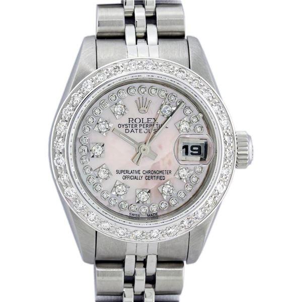 Rolex Ladies Stainless Steel Light Pink MOP 18K Gold Diamond Bezel Datejust Wris