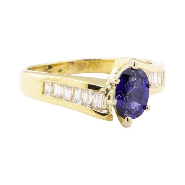 1.38 ctw Blue Sapphire and Diamond Ring - 14KT Yellow Gold