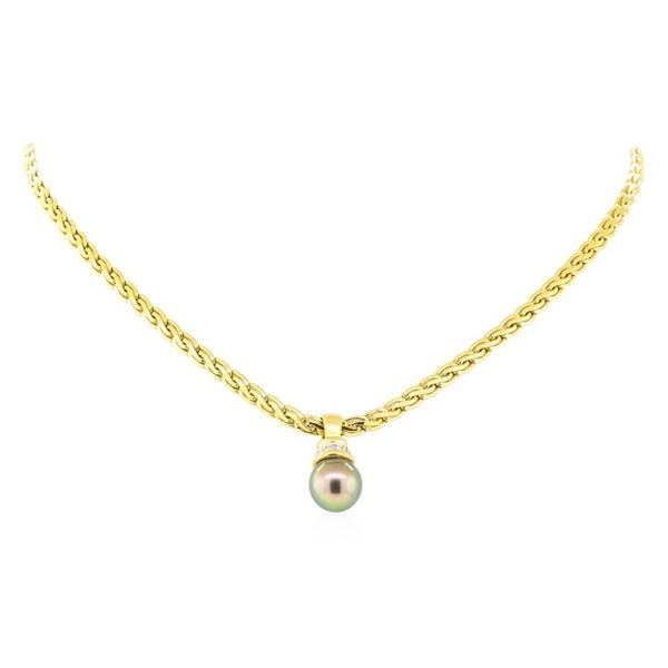 0.08 ctw Diamond and Pearl Pendant & Chain - 18KT Yellow Gold