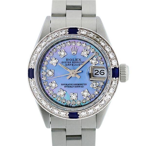 Rolex Ladies SS Blue MOP Diamond & Sapphire 18K Gold Bezel Watch 26MM