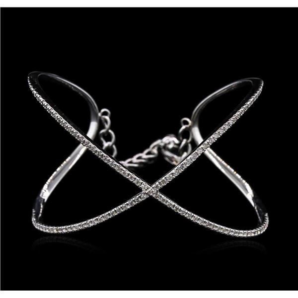 1.50 ctw Diamond Bangle Bracelet - 14KT White Gold