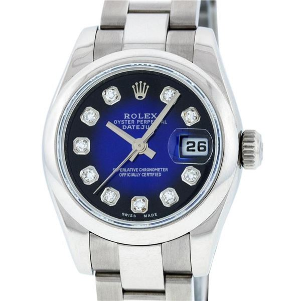 Rolex Ladies New Style Quickset Datejust Blue Diamond Oyster Perpetual Datejust
