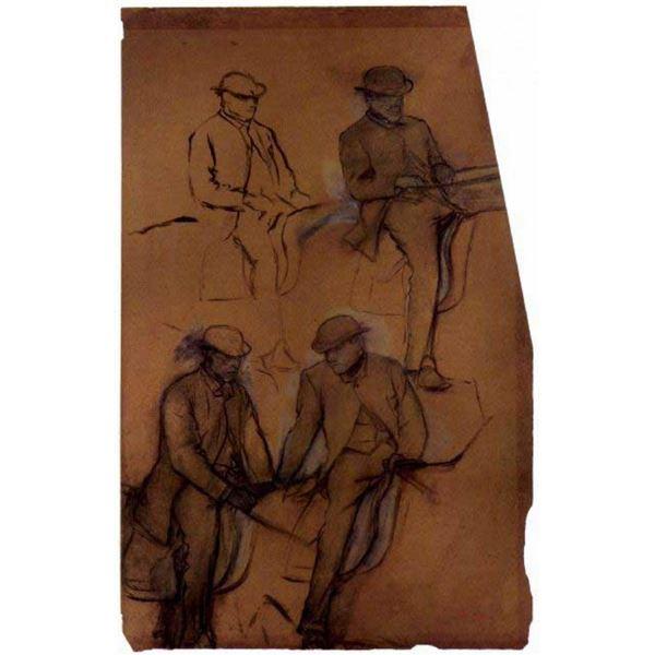 Edgar Degas - Four Riders - A Study