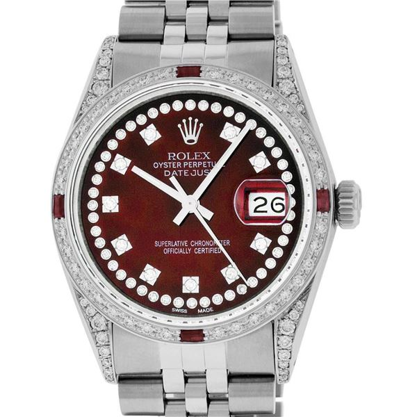 Rolex Mens Stainless Steel Red Diamond Lugs & Ruby 36MM Datejust Wristwatch