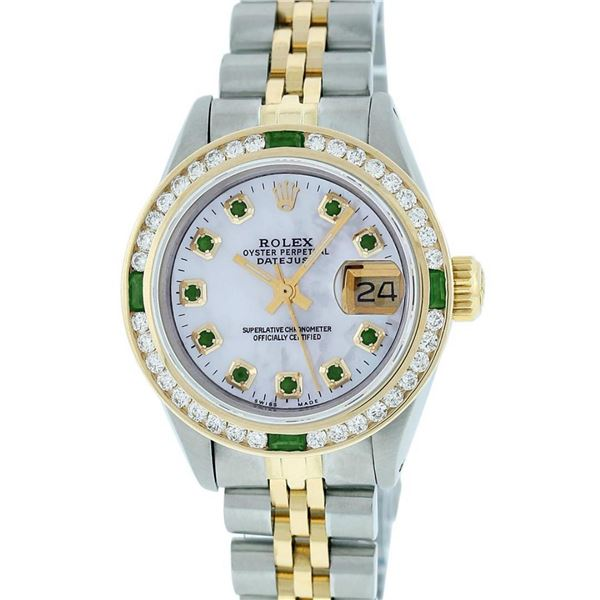 Rolex Ladies 2 Tone MOP Emerald & Channel Set 26MM Datejust Wristwatch