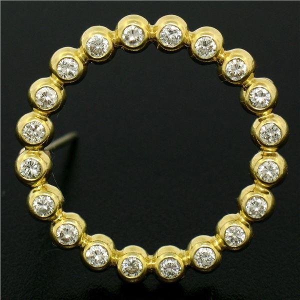 18k Yellow Gold .60 ctw 20 Bezel Set Round Diamond Circle of Life Pin Brooch 23m