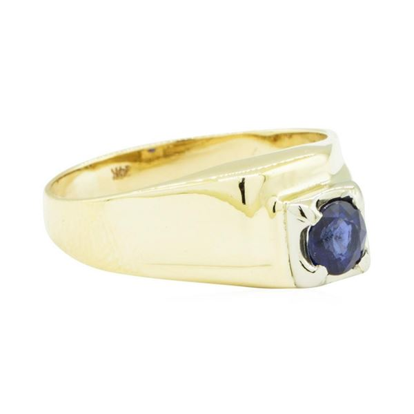 0.99 ctw Blue Sapphire Ring - 14KT Yellow Gold