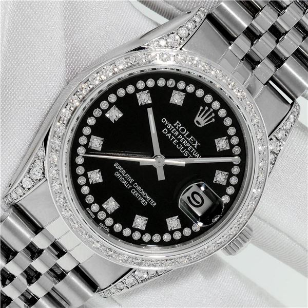 Rolex Mens Stainless Steel Black String Diamond Lugs Datejust Wristwatch With Ro