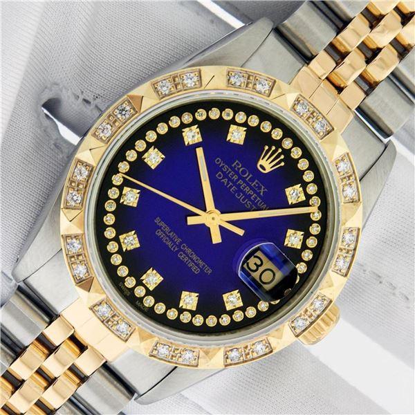 Rolex Mens 2 Tone Blue Vignette String Pyramid Diamond Datejust Wristwatch With