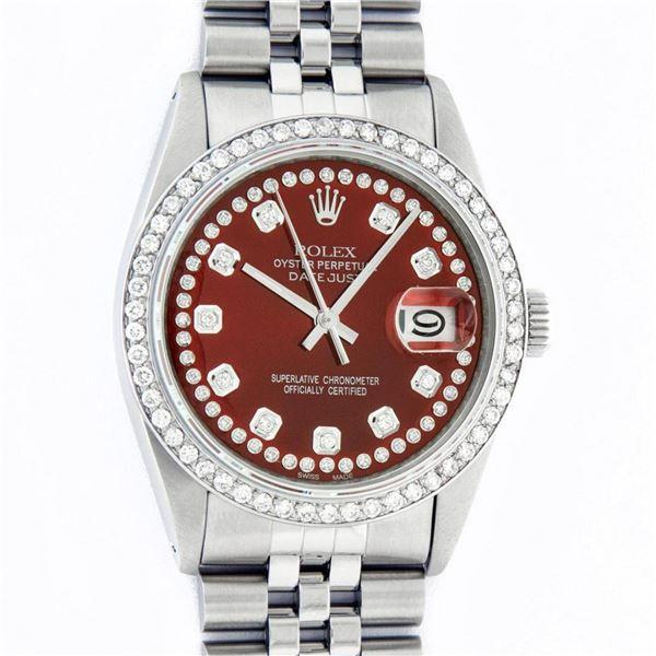 Rolex Mens Stainless Steel Red String Diamond 36MM Datejust Wristwatch Serviced