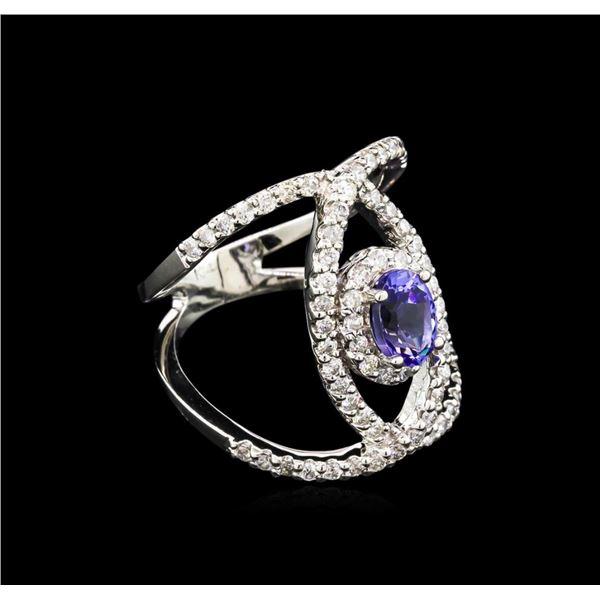 0.99 ctw Tanzanite and Diamond Ring - 14KT White Gold