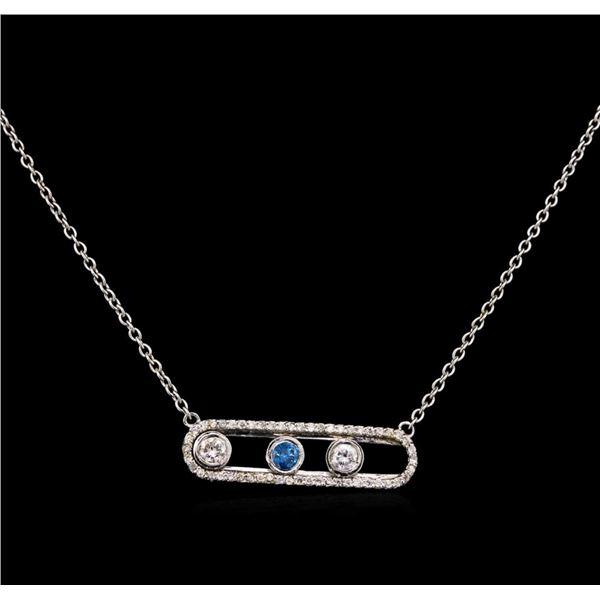 0.64 ctw Blue Diamond Necklace - 14KT White Gold