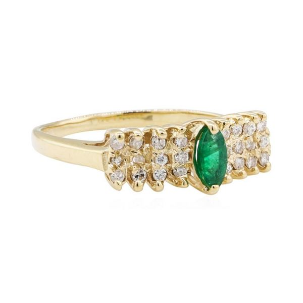 0.50 ctw Diamond and Emerald Ring - 14KT Yellow Gold