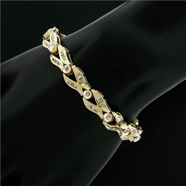 14K Yellow Gold 2.25 ctw Baguette Round Diamond Split & Bezel Link Tennis Bracel