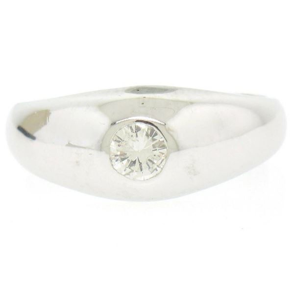Men's 14kt White Gold 0.25 ctw Bezel Round Diamond Solitaire Band Ring