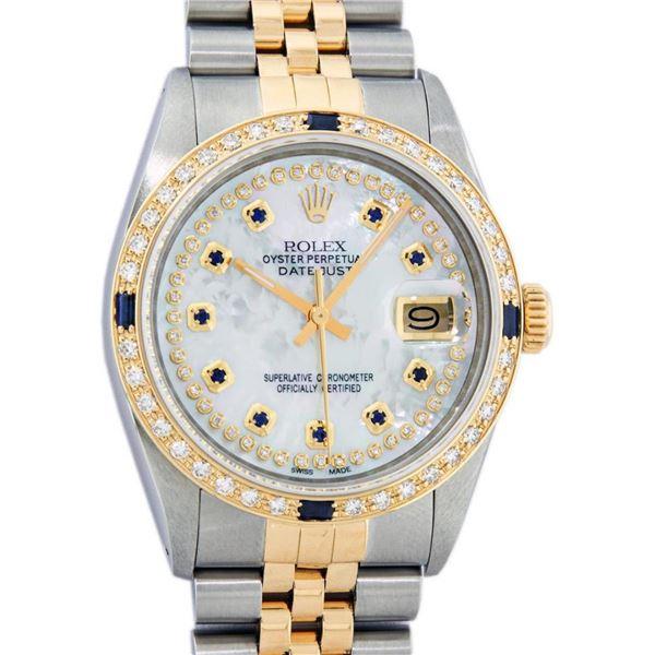 Rolex Mens 2 Tone Mother Of Pearl Diamond & Sapphire Datejust Wristwatch
