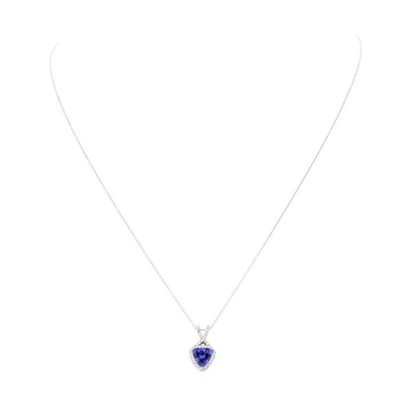 1.48 ctw Tanzanite and Diamond Pendant With Chain - 14KT White Gold