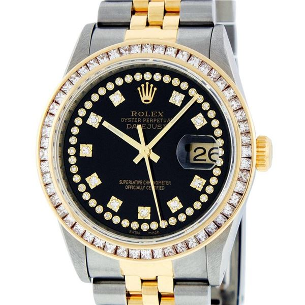 Rolex Mens 2 Tone Black 2.75 ctw Princess Cut Diamond Datejust 36MM Wristwatch