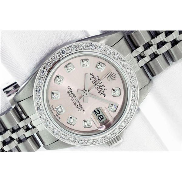 Rolex Ladies Stainless Steel Pink Diamond 18K Gold Bezel Datejust Wristwatch Wit