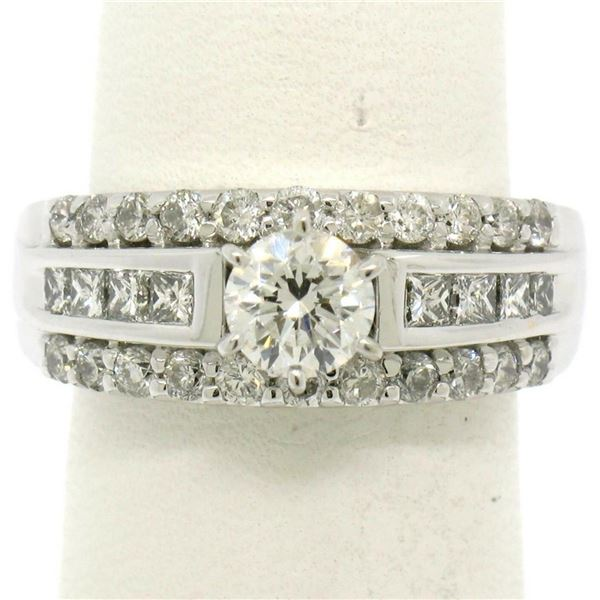14K White Gold 1.39 ctw Prong Round & Channel Princess Diamond Engagement Ring