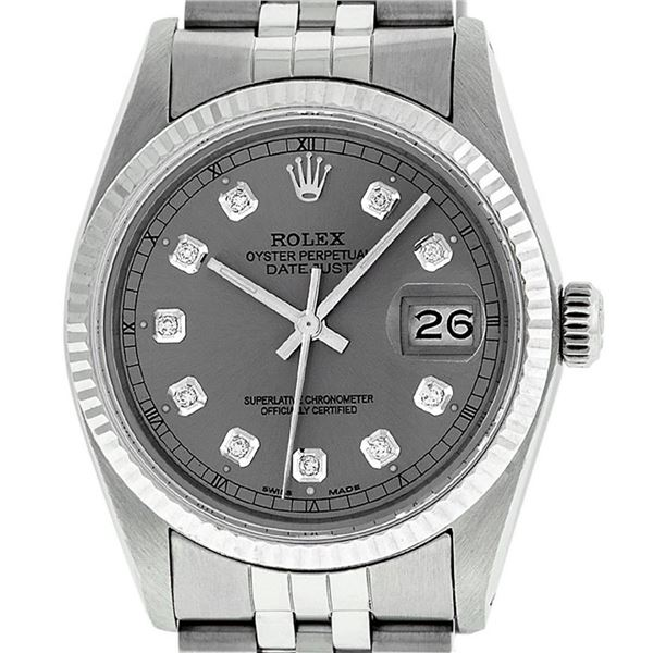 Rolex Stainless Slate Grey Diamond 36MM Oyster Perpetual Datejust Wristwatch